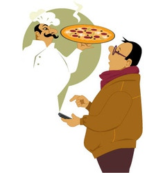 Calling for pizza delivery vector