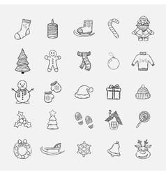 Christmas doddle icons set vector image