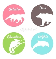 Color animals silhouettes labels in colorful vector image