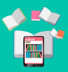 concept e-books world library tablet education vector image vector image