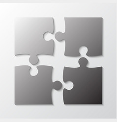 Four grey piece jigsaw puzzle four section vector