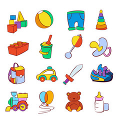 hand drawn cartoon baby toys set vector image vector image