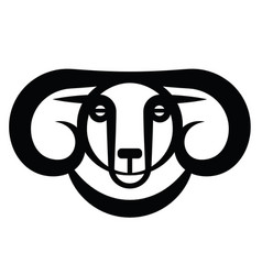 Head of horned dark ram vector