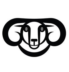 head of horned dark ram vector image