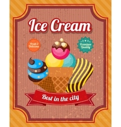 Ice Cream Vintage Poster vector image vector image