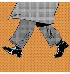 Male feet are shoes wind coat pop art comics retro vector