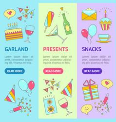 party celebration banner vecrtical set vector image vector image