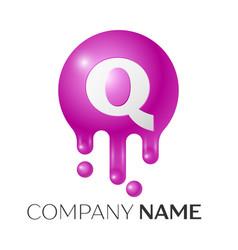 Q letter splash logo purple dots and bubbles vector
