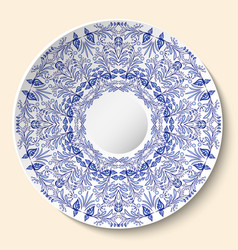 Round blue floral ornament styling based on vector
