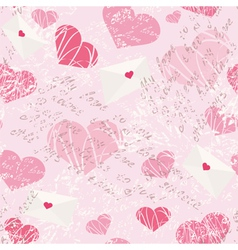 Seamless pattern with letters and hearts vector
