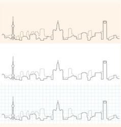 Shanghai hand drawn skyline vector