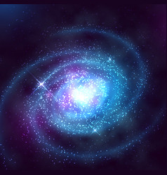 spiral galaxy in outer space with starry blue sky vector image vector image