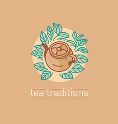 Tea traditions tea leaves and tea mate vector