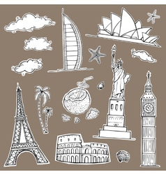 Travel and tourism labels collection vector image