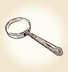 Vintage magnifier vector image vector image
