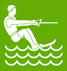 Water skiing man icon green vector