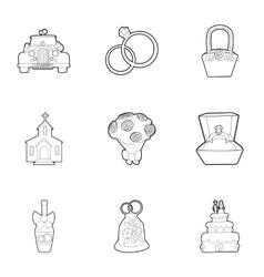 Wedding celebration icons set outline style vector