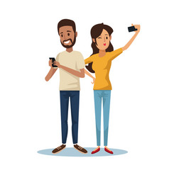 White background with brunette guy and woman vector