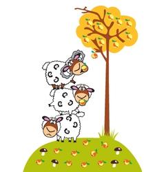 cartoon sheep and apples vector image