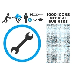 Wrench icon with 1000 medical business pictograms vector
