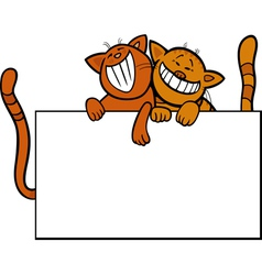 Cartoon cats with board or card vector