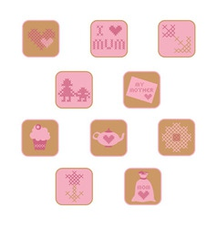 Cross stitch mothers day icons set vector