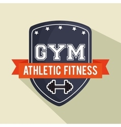 Emblem gym athletic fitness shield vector