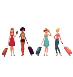 Young fashionable women girls traveling with vector image
