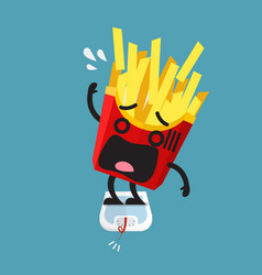 Overweight french fries character on weight scale vector