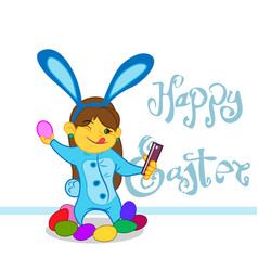 little girl in a bunny costume with eggs vector image