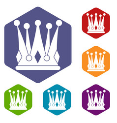 Kingly crown icons set hexagon vector