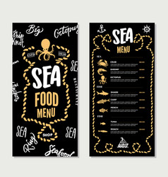 hand drawn seafood restaurant menu template vector image