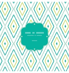 Green ikat diamonds frame seamless patterns vector