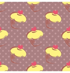 Tile polka dots and cupcakes pattern background vector
