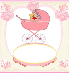 Funny teddy bear in stroller baby announcement vector