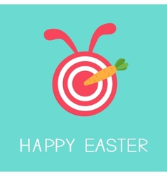 Target with rabbit ears and carrot arrow happy vector