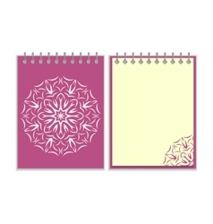 Purple cover notebook with round florwer pattern vector