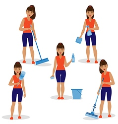 Girl cleaning vector