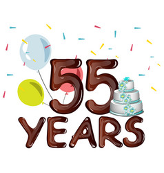 55 years anniversary celebration card with ballons vector image vector image
