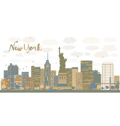 New york city architecture skyline vector