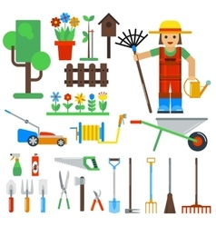 Gardening tools icons isolated on white vector