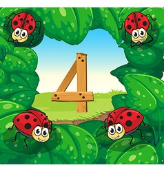 Number four with 4 ladybugs on leaves vector image