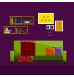 Living room interior modern flat design vector