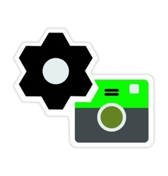Paper sticker on white background camera settings vector