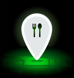 Digital map pin 24 hrs night eatery vector