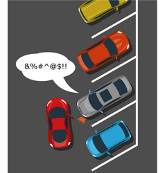 Bad car parking top view vector