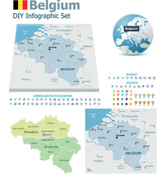 Belgium maps with markers vector