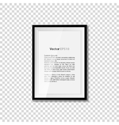 Black blank picture isolated on transparent wall vector image vector image