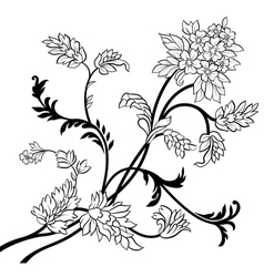 Black outline flower elements vector