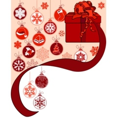 christmas greeting card with gift box vector image vector image